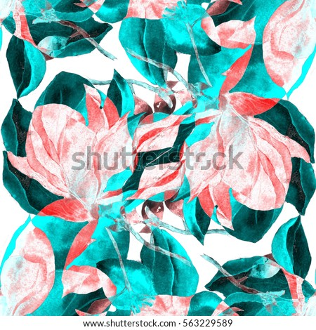 Stock Photo Watercolor flower seamless pattern