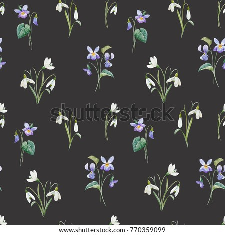Stock Photo Watercolor flower spring pattern, delicate  bouquet of snowdrops , flowers bouquet violet