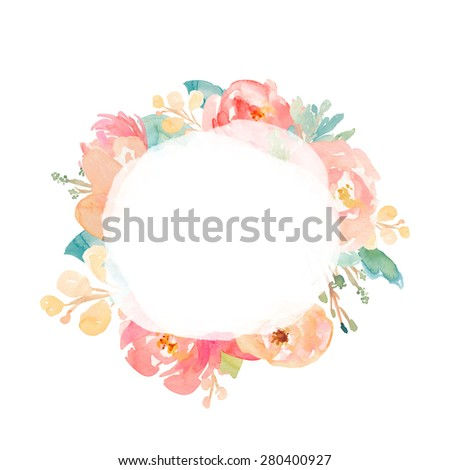 Watercolor Flower Wreath With Center Texture Watercolour Floral Frame Round