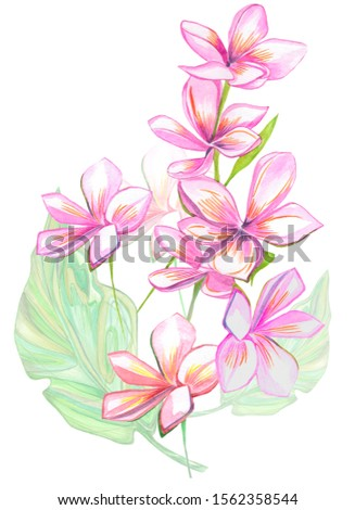 Watercolor. Flowers and banana leaves