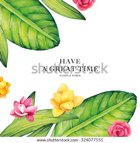 Watercolor flowers card. Bright watercolor illustration.