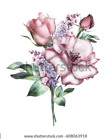 watercolor flowers. floral illustration, flower in Pastel colors, pink rose. branch of flowers isolated on white background. Leaf and buds. Cute composition for wedding or  greeting card. bouquet