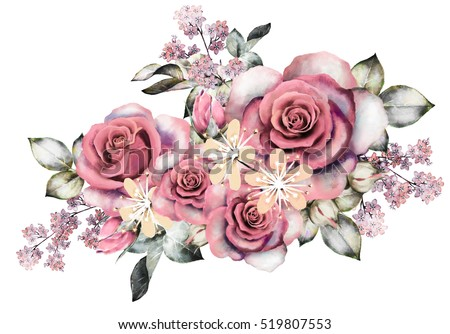 watercolor flowers. floral illustration in Pastel colors, pink rose. branch of flowers isolated on white background. Leaf and buds. Cute composition for wedding, greeting card