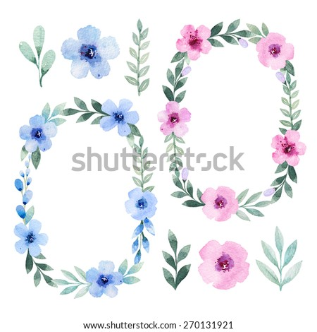 Watercolor flowers, leaves and wreath