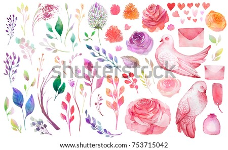 Watercolor flowers,leaves,branches,isolated on white. Sketched wreath,pigeons,envelopes,bottle,hearts for romantic,wedding,valentines day design. Watercolour style - Shutterstock ID 753715042