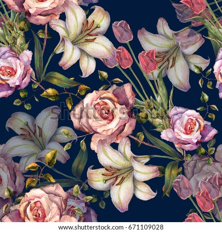 Watercolor flowers lily and roses on a dark blue background.