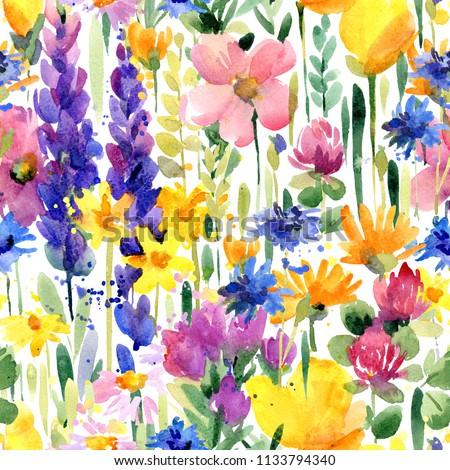 watercolor flowers seamless pattern. summer field hand drawn illustration