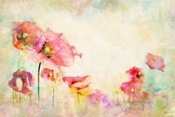 Watercolor flowers - wallpaper with illustration of poppy. Multicolor wash drawing with floral composition. Paper texture background with poppies painting.