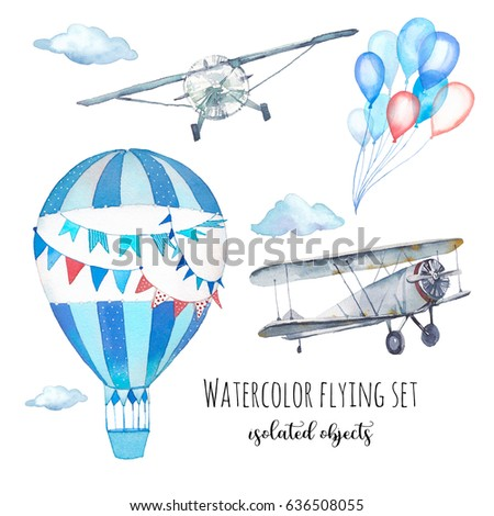 Watercolor flying set. Hand painted objects: vintage airplane, hot air balloon, party air balloons, clouds isolated on white background. Retro sky diving clip art