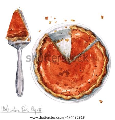 Watercolor Food Clipart - Pumpkin Pie