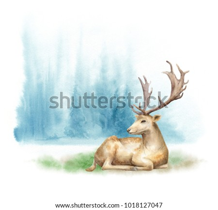 Watercolor forest landscape. The deer on the lawn. Template for posters and postcards.