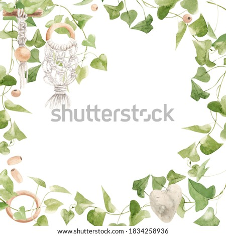 watercolor frame. macrame products, wooden rings and beads, ivy sprigs. suitable for the design of promotional items, web pages for handicraftsmen and craft shops Stock photo ©