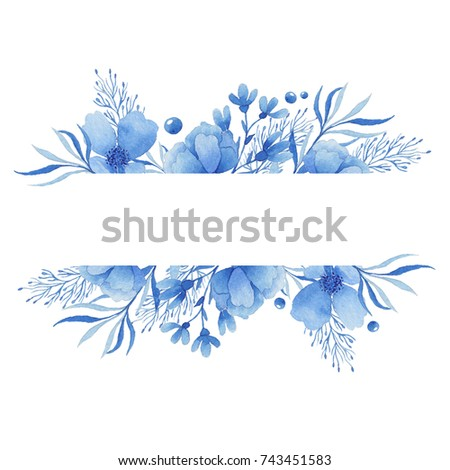Watercolor frame of delicate blue flowers. Suitable for wedding invitations and postcards