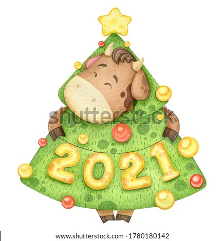Watercolor funny bull in Christmas tree costume. Symbol of 2021 year. Year of the bull. New Year Cute Cow illustration hand drawn.