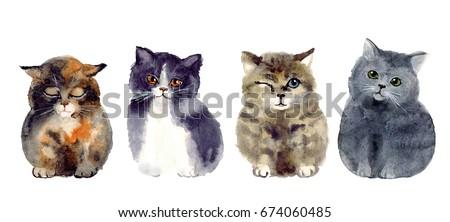 Watercolor funny sketch cats. art illustrations sketch