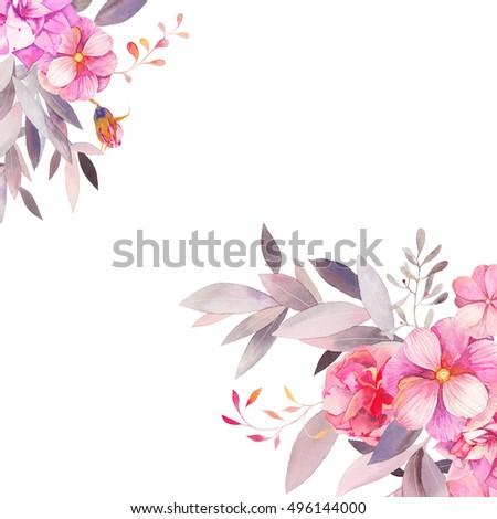 Watercolor Garden Floral Wedding Invitation Hand Drawn Vintage