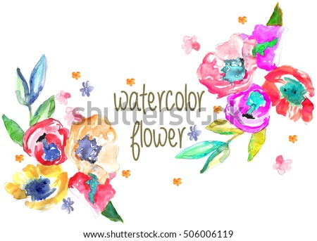 watercolor garden flowers #506006119