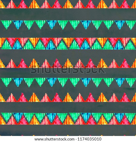 Watercolor geometric seamless texture, pattern. Hand-painted fabrics, batik. African ornament on a black background