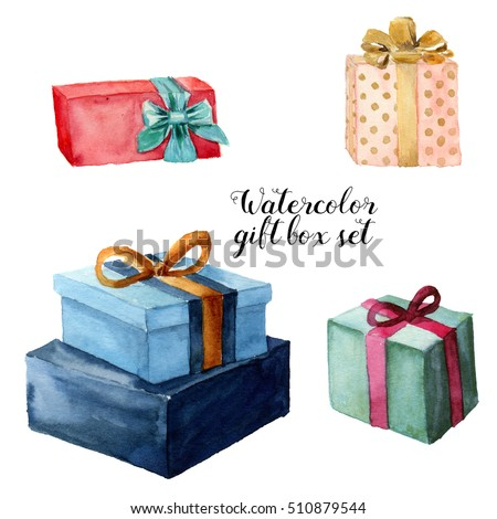 Watercolor gift box set with bow. Hand painted illustration isolated on white background. Party or birthday decor