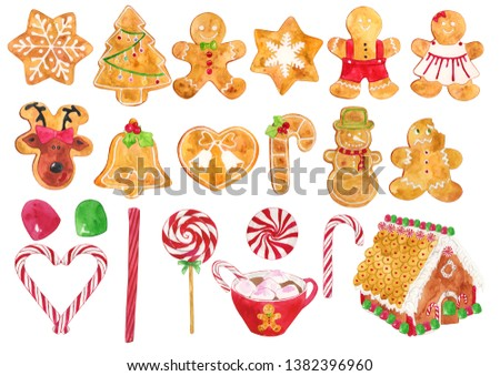 Watercolor Gingerbread Illustration, Gingerbread Clipart #1382396960