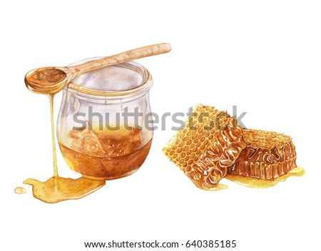 Watercolor glass jar of honey, spoon of honey, honeycomb isolated on white background.