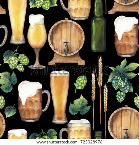 Watercolor glasses of beer, bottle, barrel, hops and malts. Hand painted oktoberfest seamless pattern