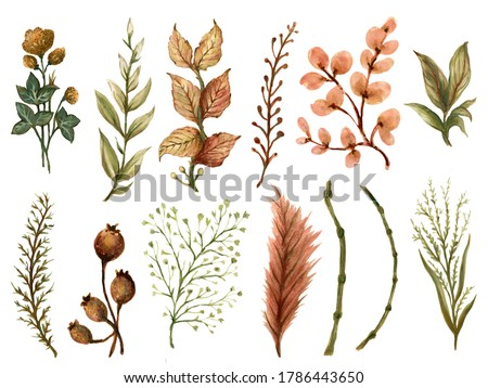 Watercolor gouache Autumn Fall branches with leaves hand drawn illustration element Design for invitations greeting cards, backdrop, wreath ,border, frame, textile fabric