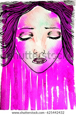 Watercolor graphic illustration of a girl with long hair in profile, executed by watercolor and pen by hand on paper