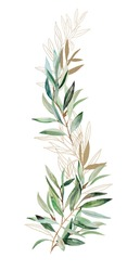 Watercolor green and golden Olive branches illustration border