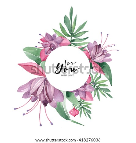 Watercolor greeting card. Floral design invitation card template.