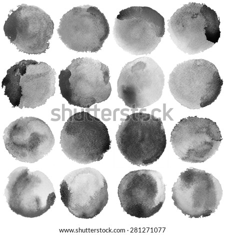 Watercolor Grey Circles Set. Photoshop compilation significant grain and abstract dark bit mapped graphics. Graphic arts are raster. Grunge shape for Business background presentation and advertising. stock photo