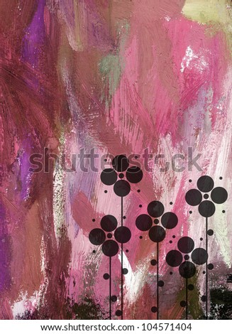 watercolor grunge composition with spring flowers on pink background