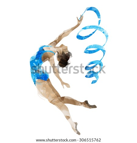watercolor gymnast with ribbon