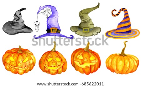 Watercolor Halloween. Hand drawn holiday illustration natural and decorative pumpkins with hats. Artistic autumn constructor clip art. Jack O Lantern