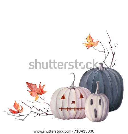 watercolor halloween  set. It's perfect for cards, halloween  party invitations, poster.