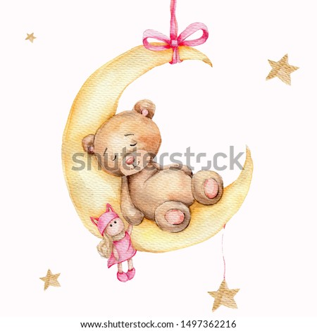 Watercolor hand draw illustration brown teddy bear girl sleeping on the moon with pink doll toy in his hand; can be used for cards, invitations, baby shower, posters; with white isolated background