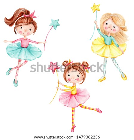 Watercolor hand draw illustration set with cute little ballerinas girls with a magic wand children illustration; inspired by fairy tale; with white isolated background