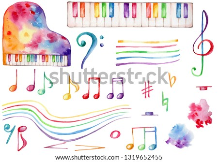 Watercolor hand draw illustration set with rainbow piano, treble and bass clef, colorful musical notes, music staff, rainbow splash, with white isolated background