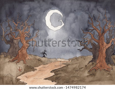 Watercolor hand drawing of dark landscape at night. Spooky Halloween background concept. Bare dead trees silhouettes on black sky. Mysterious Background with moonlight design.