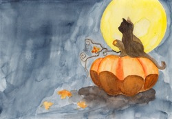 Watercolor hand drawing of dark landscape at night with orange pumpkin and cat. Autumn Halloween background concept. Bare dead tree silhouette on black sky. Mysterious Background with moonlight.