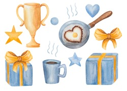Watercolor hand drawn art set of elements for congratulations present box gift, cup of coffee, prize cup, frying pan with fried eggs in the heart form isolated on white clip art for fabric postcards