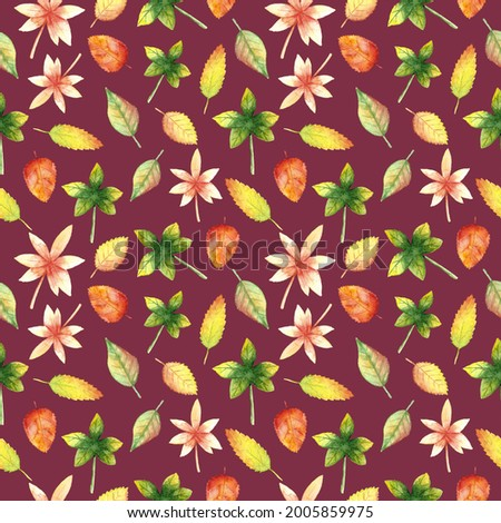 Watercolor hand drawn autumn leaves seamless pattern on vinous background. Fall nature botanical print for textile, fabric, wallpaper, wrapping paper, design and decoration. Foto d'archivio ©