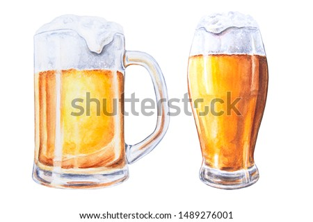 Watercolor hand drawn beer in glass mugs on a white isolated background.