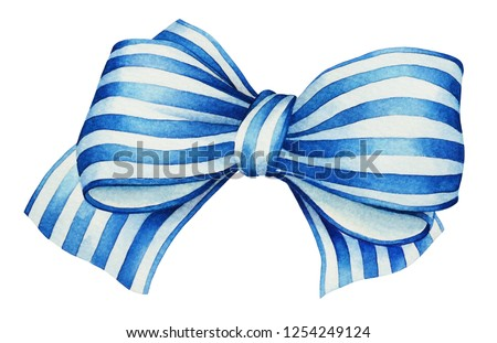 Watercolor hand drawn blue with white stripes ribbon bow isolated on white background. Useful for design of birthdays, anniversary, Christmas and New Year holidays and other events.