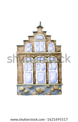 Watercolor hand drawn brown brick Amsterdam town house with step roof and large panoramic windows isolated on white background.