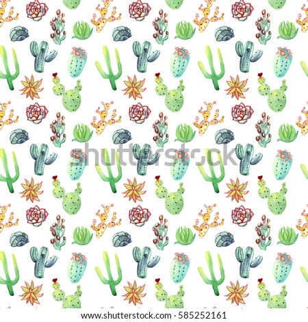 Watercolor hand drawn cactus succulent seamless pattern. White background. Beautiful vivid succulents. Raster image. Ideal for sites, fliers, flyers, brochures, wedding invitation, card, banners etc