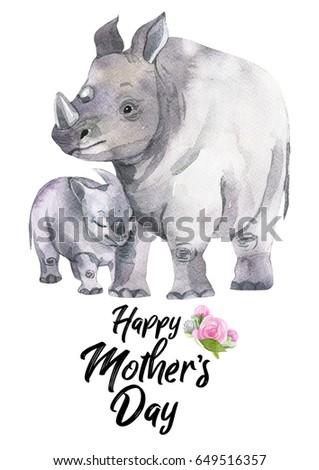 Watercolor hand-drawn card for Mother's Day. Hand painted realistic illustration animals isolated on white background. Rhinoceros and baby.