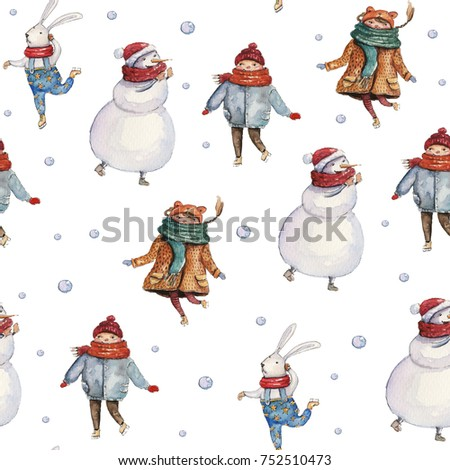 Watercolor hand drawn Christmas seamless pattern with snowman, hare, snowballs and children on white background