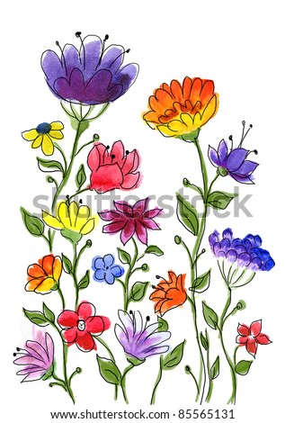 Watercolor hand drawn colorful flower brunches.