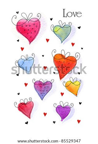 Watercolor hand drawn doodle hearts.